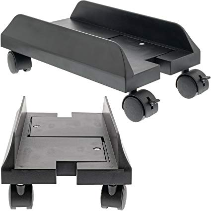 PC Computer Stand Case Caddy with 5 Rolling Wheels for Desktop//Tower Cases