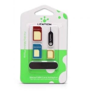 LENTION 5-in-1 Nano, Micro, SIM Card Adapter