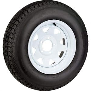 Wheels Express 15-inch White Spoke Wheel with ST205/75D15 Bias Tire
