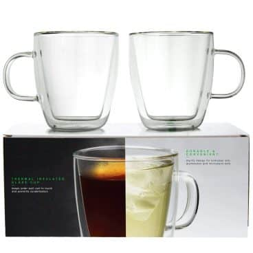LINKYO Glass Coffee Cups - Double Wall Insulated Mugs
