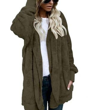 FOUNDO Women Fuzzy Fleece Jacket Open Front Hooded Cardigan Coat