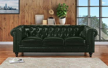 Divano Roma Furniture Classic Scroll Arm Leather Match Chesterfield Sofa
