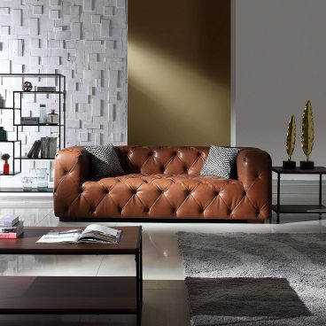 Large Tufted Real Itlian Leather Chesterfield Sofa