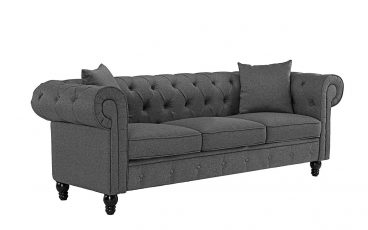 Classic Linen Fabric Scroll Arm Tufted Button Chesterfield Style Sofa
