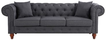 Divano Roma Furniture Classic Linen Fabric Scroll Arm Tufted Button Chesterfield Style Sofa