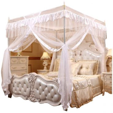 Mengersi Princess 4 Corners Post Bed Curtain Canopy Mosquito Netting