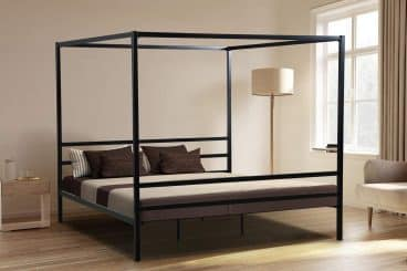 Oliver Smith - Modern Heavy Duty Black Iron Metal Platform Canopy Bed