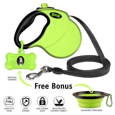 Ruff 'n Ruffus Retractable Dog Leash with Free Waste Bag Dispenser and Bags