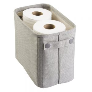 mDesign Soft Cotton Fabric Bathroom Storage Bin Basket