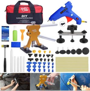Fly5D 53Pcs Auto Body Paintless Dent Repair (PDR) Removal Tool Kits Dent Lifter Bridge Glue Puller Kits with Tool Bag
