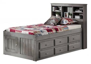 Discovery World Furniture Charcoal Twin Book Case Captains Bed