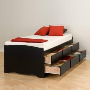 Black Tall Twin Captains Platform Storage Bed with 6 Drawers