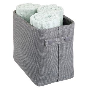 mDesign Soft Cotton Fabric Closet Storage Organizer Bin Basket