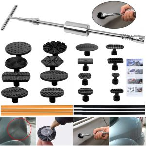 ARISD Paintless Dent Repair Puller Kit - Dent Puller Slide Hammer T-Bar Tool with 16pcs Dent Removal Pulling Tabs for Car Auto Body Hail Damage Remover