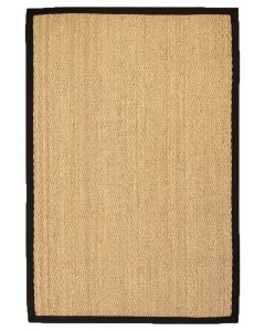 NaturalAreaRugs Four Seasons Area Rug Natural Seagrass Hand-Crafted Black Wide Canvas Border