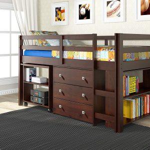 Donco Kids 760Cp Low Sturdy Loft Bed, Dark Cappuccino