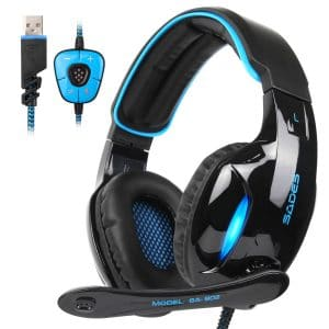 SADES Gaming Headset Headphone Stereo Channel USB wired with Mic Volume Control LED Light