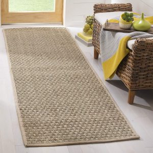 "Safavieh Natural Fiber Collection NF114A Basketweave Natural and Beige Summer Seagrass Runner (2'6"" x 6')"