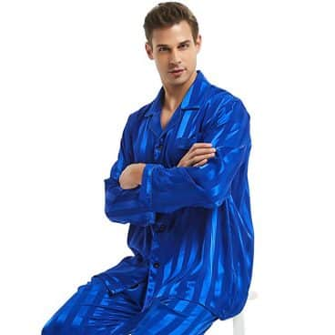 Mens Satin Long Button-Down Pajamas Set