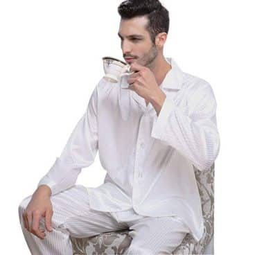 Mens Silk Satin Pajamas Set Sleepwear Loungewear Striped