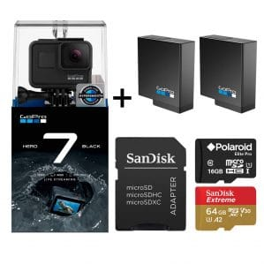 GoPro Hero 7 Black Edition with Two Extra GoPro USA Batteries + Sandisk Extreme 64GB MicroSD