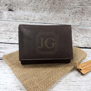 4. Brown Genuine Leather Tri-Fold Personalized Mans Wallet Black