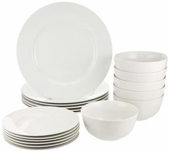 7. AmazonBasics 18-Piece White Kitchen Dinnerware Set