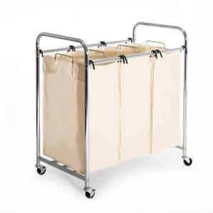 Seville Classics Mobile 3-Bag Heavy-Duty Laundry Hamper Sorter Cart