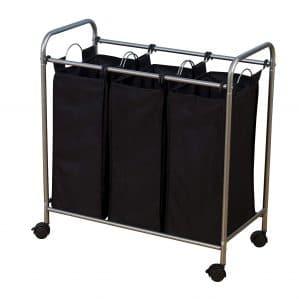 Household Essentials 7044 Triple Laundry Sorter on Wheels