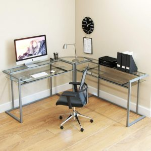 Ryan Rove Glass Modern L-Shaped Desk