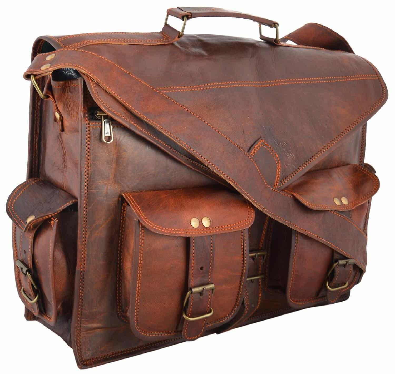Men Handmade Vintage Leather Messenger Laptop Briefcase Satchel Women Bag Brown