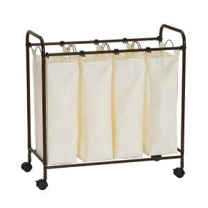 Household Essentials 7173 Rolling Quad Laundry Sorter with Removable Hamper Bags