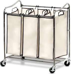 Simple Houseware Heavy-Duty 3-Bag Laundry Sorter Cart