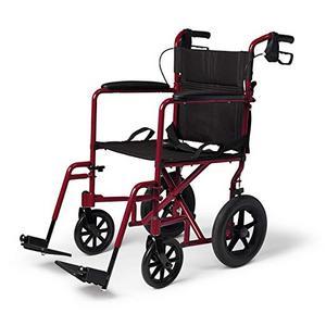 4. Medline Lightweight Transport Wheelchair, Red