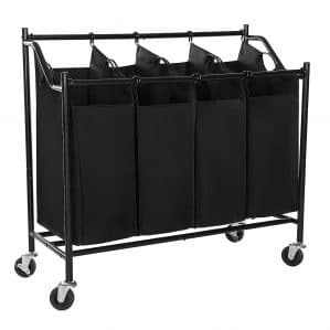 SONGMICS Heavy-Duty 4-Bag Rolling Laundry Sorter Storage Cart