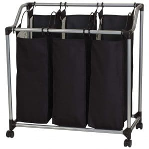 Household Essentials 9117 Triple Laundry Sorter on Wheels