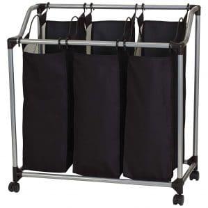 Household Essentials 9117 Triple Laundry Sorter on Wheels