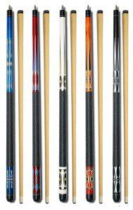 Set of 5 pool cues by Billiard Depot