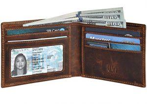 Genuine Leather RFID Blocking Handmade Leather Wallet for Men