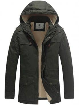 WenVen Men's Cotton Heavy Sherpa Lined Hooded Parka Jacket