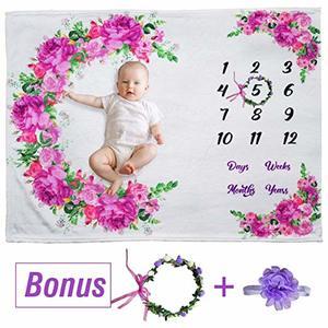 #10 Floral Baby Milestone Blanket