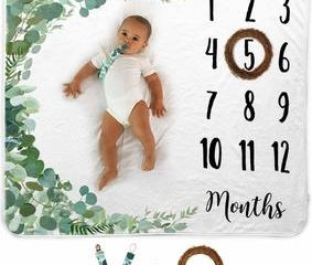 Monthly Baby Milestone Blanket Extra Thick Double Sided Photo Prop 100/% Bamboo