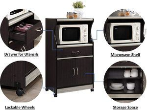 1. Hodedah Microwave Cart with One Drawer, Two Doors, and Shelf for Storage