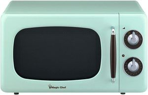 1. Magic Chef MCD770CM Mint Green Retro Countertop Microwave Oven