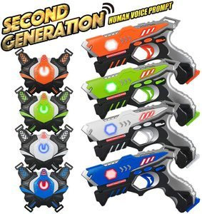 10. Laser Tag Guns Sets 4 Pack for Kids Adults, 4 Players