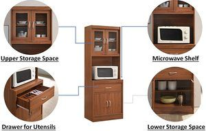 2. Hodedah Long Standing Kitchen Cabinet