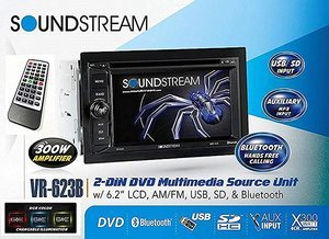 "6. Soundstream VR-623B 6.2"" Touch Screen Radios CD DVD MP3 Receiver"