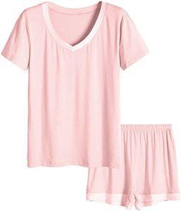 1. Latuza Women's V-Neck Sleepwear Short Sleeve Pajama Set