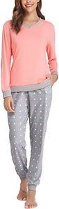 3. Hawiton Women's Cotton Long Sleeve Pajamas Set