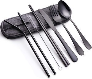 3. Portable Stainless Steel Flatware Set, 8 Pieces